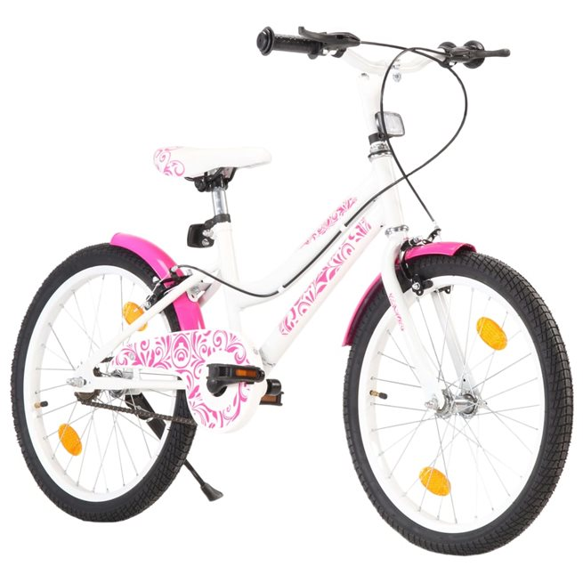 vidaXL Barncykel 20 tum rosa och vit