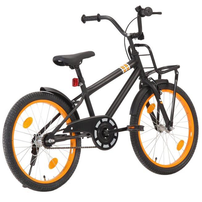 vidaXL Barncykel med frampakethållare 20 tum svart och orange