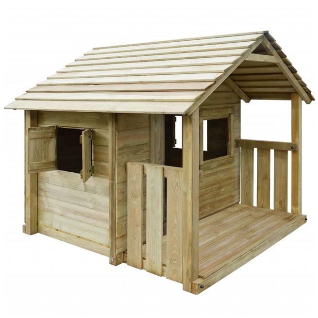 vidaXL Lekstuga med 3 fönster 204x204x184 cm trä